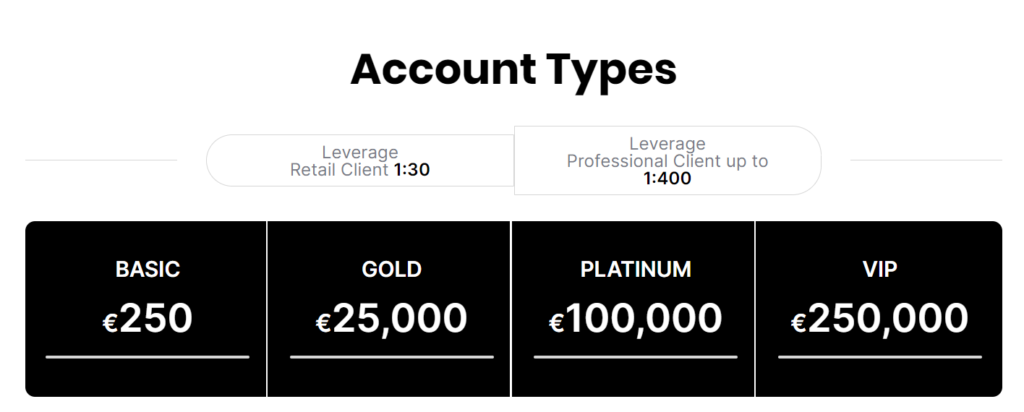 OBRInvest Account types